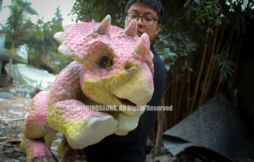 Realistic Baby Triceratops Puppet