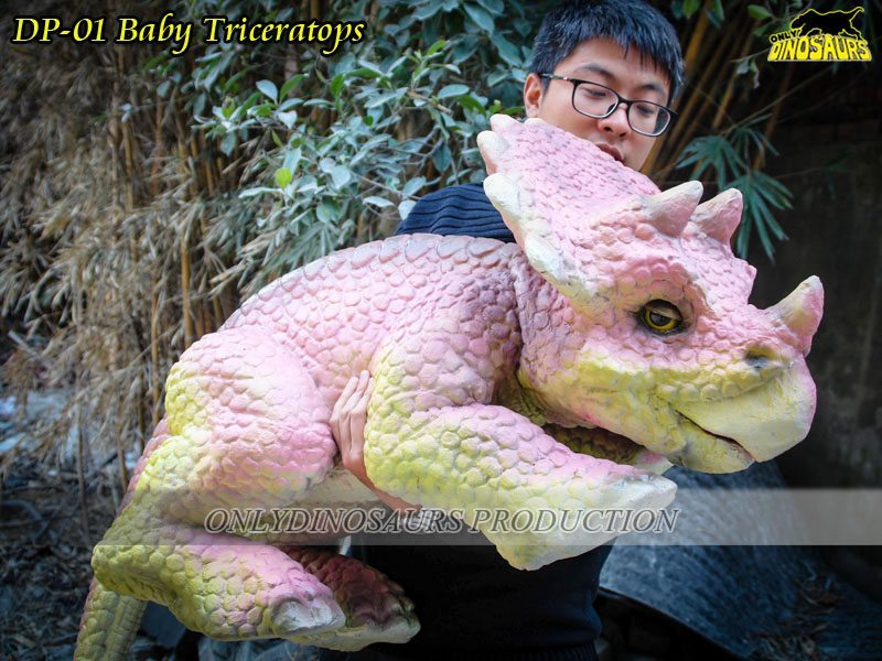 Realistic Baby Dinosaur Puppet Triceratops