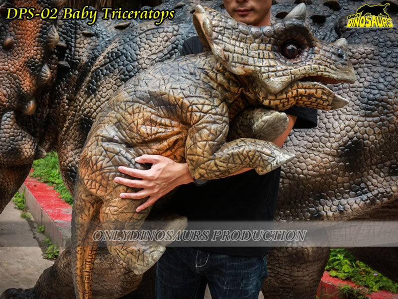 Baby Dinosaur Triceratops Puppet around its mom