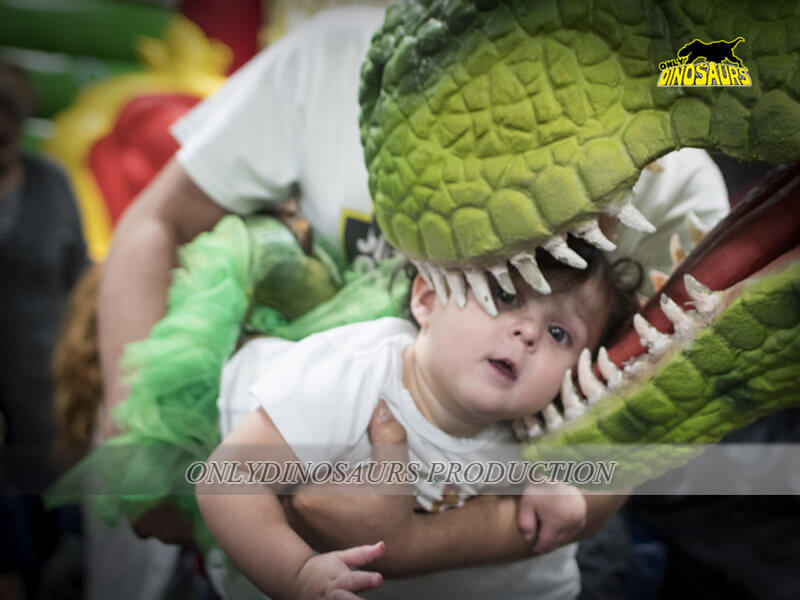 T-Rex Costume Playing with Kids