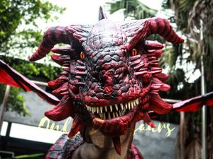 Amazing Adult Dragon Costume Black & Red Color