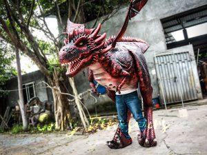 Authentic Lifelike Dragon Costume Visible Legs