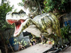 Dinosaur Exhibition Realistic Animatronic T Rex Green