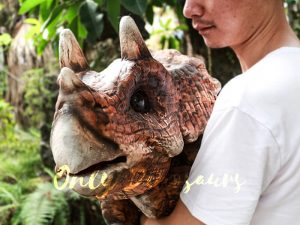 Dinosaur Party Artificial Baby Dinosaur Puppet Triceratops Dark Brown