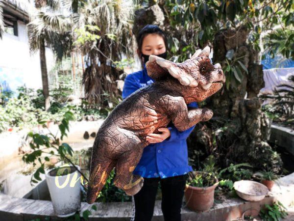 Emulational Baby Dinosaur Puppet Triceratops for Park Dark Brown1 1