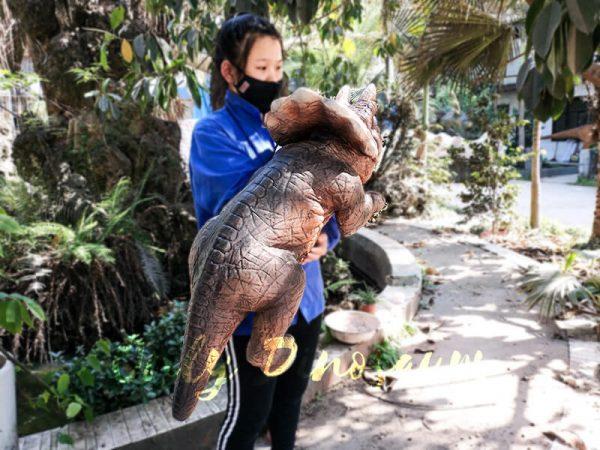 Emulational Baby Dinosaur Puppet Triceratops for Park Dark Brown3 1