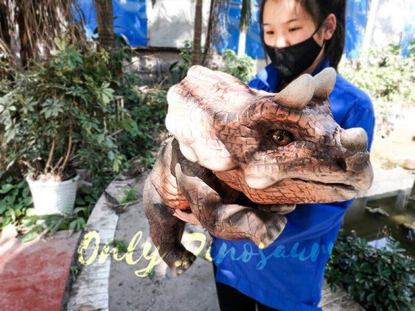 Emulational Baby Dinosaur Puppet Triceratops for Park Dark Brown5 1