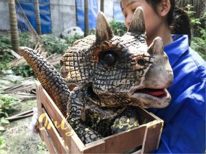 Hot Selling Realistic Dinosaur Puppet in Crate Sandybrown