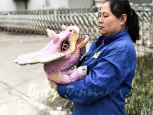Lifelike Triceratops Baby Hand Puppet Pink