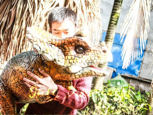 Lovely Dinosaur Park Attraction Hand Puppet Dark Orange3 1