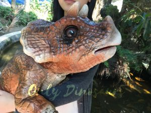 Mechanical Dinosaur Baby Hand Puppet Brown