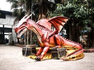 Mysterious Dragon Animatronic with Treasure Chest & Gold