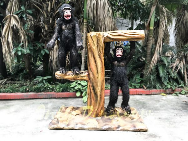 Park Attraction Black Animatronic Monkey with stump3