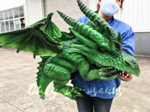 Realistic Baby Dragon Puppet in Green
