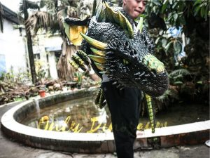 Realistic Dragon Shoulder Puppet for Event Black & Green