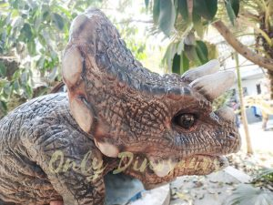 Realistic Triceratops Baby Puppet of Jurassic World Dark Brown