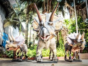 Dinosaur Exhibition Attract Animatronic Triceratops Family