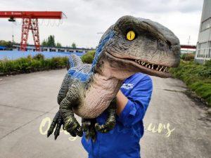 Jurassic Baby Blue Raptor Dinosaur Hand Puppet