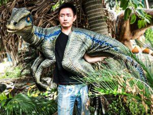 Juvenile Blue Raptor Shoulder Puppet Realistic Dinosaur