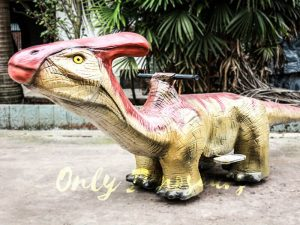 Lifelike Dinosaur Rides Parasaurolophus for Playground