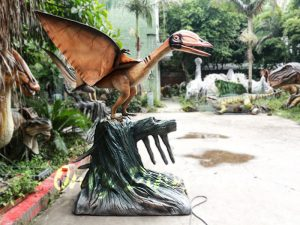 Realistic Animatronics Pteranodon with Tree Stump
