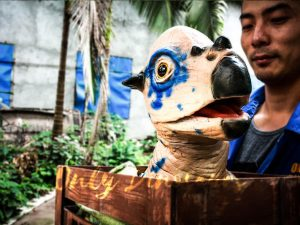 Dinosaur Stygimoloch Crate Puppet Blue Spot