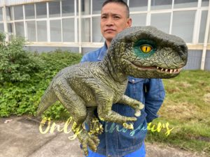 Dark Green T-Rex Hand-Held Puppet for kids