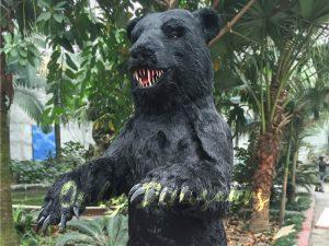 Black Animatronic Bear with Sharp Teeth