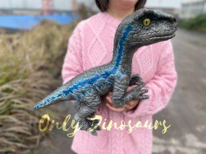 Cute Mini Baby Velociraptor Cub with Gray & Blue Color
