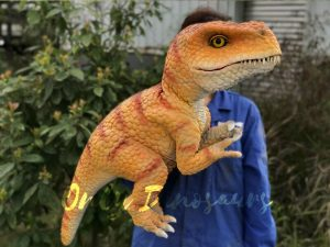 Yellow Handheld Baby Tyrannosaurus Puppet with Adorable appearance