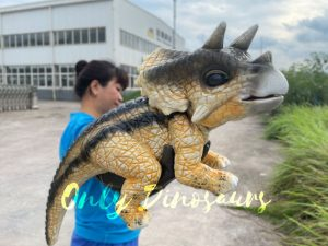 Realistic False Arm Baby Triceratops Dino Puppet