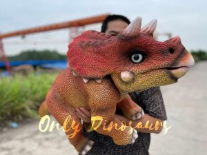 Realistic Baby Dino Triceratops Puppet