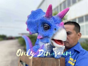 Bright Blue Triceratops Crate Puppet
