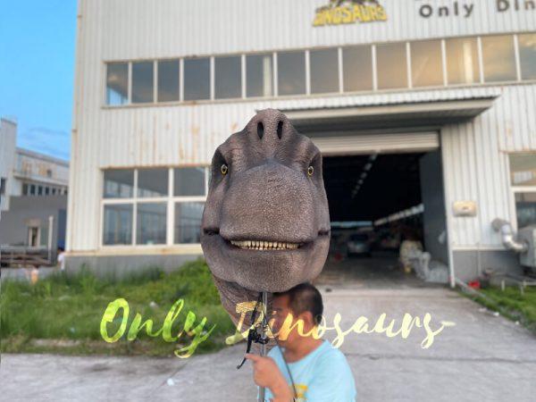 A Man Carrying a Brachiosaurus Head