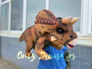 Cuddly Orange Baby Triceratops Dinosaur Puppet