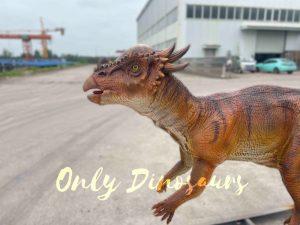 Vivid Orange Animatronic Dinosaur Stygimoloch Model